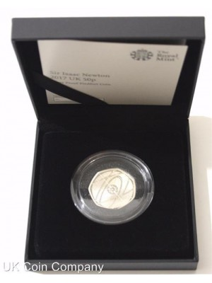 2017 Isaac Newton Silver Proof Piedfort Fifty Pence Coin Brand New Royal Mint Boxed And Certified